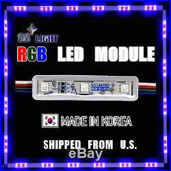 100PC/50FT 9cm 3 RGB LED Module Storefront KRGB3 12V DC SS Light Korea