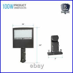 100W LED Shoebox/Parking Lot Pole Light 5700K Universal Mount Outdoor Lighting