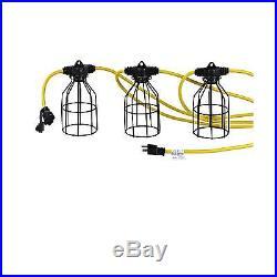 100 Foot Construction Temp Work Light String Metal Cage Alert Stamping TLS-100J3