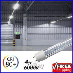 100 PACK LED G13 4FT 4 Foot T8 Tube Light Bulbs 18W 6500K Clear LENS Fluorescent