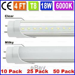 10-50 Pack 48 inch 4ft 18W LED Fluorescent Tube Light Bulb T8 fixture