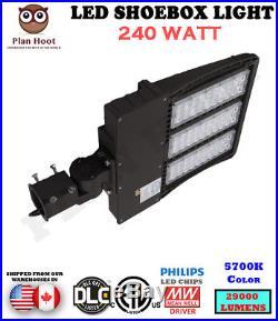 10 Lights 240W LED Dusk to Dawn Shoebox ETL DLC for Parking Lot Street Light