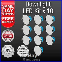 10 PK Led Down Light 240 Volt 3 Colour super bright 850 Lumens 10 Watt Dimmable
