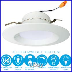 12 Pack 4 Inch LED Recessed Remodel Baffle Can Light, 10 Watt 750 Lumens 5000K