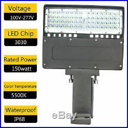 150W LED Parking Lot Light 18000LM Outdoor Single Module Pole Flood Lights 5500K