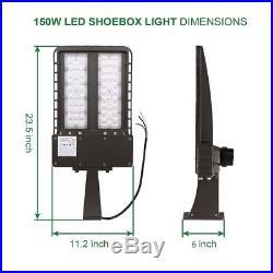 150W Parking Lot Light 18000LM Outdoor LED Shoebox Light Pole Lighting 5700K VI