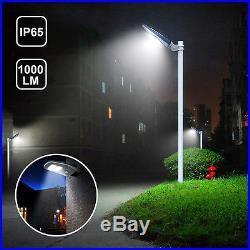 1,000LM Solar Street Lights Motion Sensor Dusk to Dawn Outdoor Garden Light 2PCS