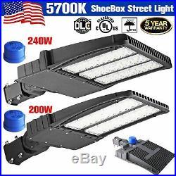 200W 240W 300W LED Dusk to Dawn Shoebox Fixture ETL DLC Park Street Light Pole M