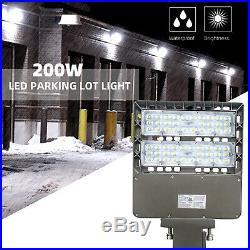 200W LED Parking Lot Light Dusk to Dawn Photocell Arm Mount 5500K Super Bright