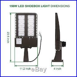 200W LED Shoebox Parking Lot Street Light Fixture Bright 26000lm 5700K DLC 4.2
