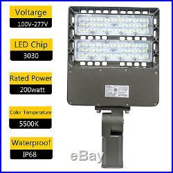 200W Outdoor LED Parking Lot Pole Light Basketball Tennis Court Area Light 5500K