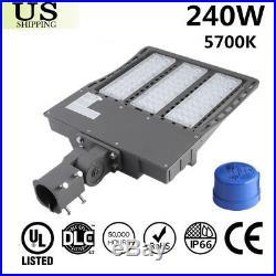 240W LED Parking Lot Outdoor Road Light Fixtures Shoebox Pole Street Lamp 5700K