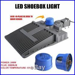 240W LED Shoebox Fixture Parking Lot Light Outdoor Street Area Road Lamp USA EK