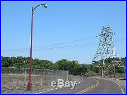 25' Vintage Fluted Cast Iron Outdoor Street Light Pole Post Finial & Holophane