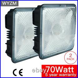 2Pack 70W LED Canopy Light Commerical Grade, IP65 Weatherproof Outdoor, High-bay