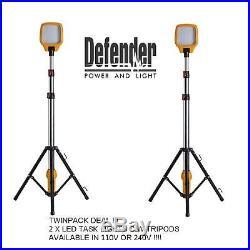 2x LED Task Light with Telescopic Tripod 240v / 110v Work Site Lighting Defender