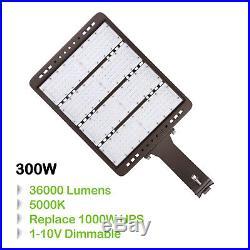 300W LED Shoebox Commerical Dimmable Pole Light Parking Lot Lamp 36000lm 5000K