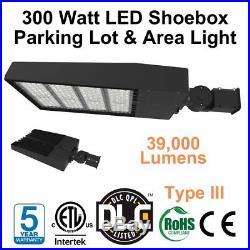 300 Watt LED Area Parking Lot Shoebox Light DLC 5000K Replace 1000 Watt HID