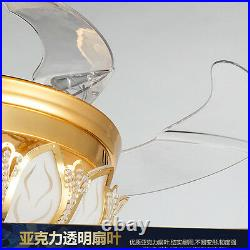42'' Gold Crystal Ceiling Fan Light LED Invisible Chandelier Lamp Remote Control