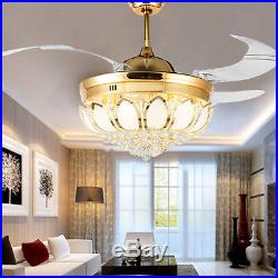 42 Remote Control Gold Crystal Ceiling Fan Light Invisible LED Fan Chandelier