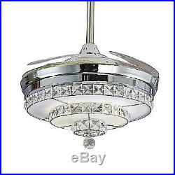 42 Retractable Ceiling Fan Light Crystal Chandelier Invisible Remote Control