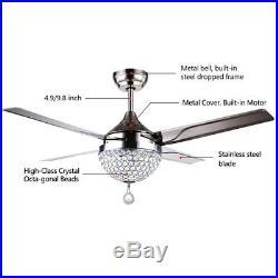 44 LED Crystal Chandeliers Ceiling Fan Remote Control Stainless Steel Fan Light