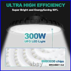 4PCS 300W UFO LED High Bay Light Shop Work Warehouse Industrial Lighting 6000K