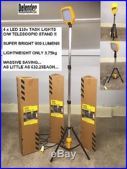 4 x LED Task Light with Telescopic Tripod 110v Work Site Lighting Defender