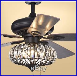 52in Tiffany Style Crystal Bowl Shade Ceiling Fan Light Home Chandelier Lamp