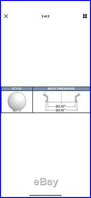 6 12 WHITE ROUND GLOBE OUTDOOR SPHERES 20012-WH-4F TOP 4 Neck Fitter NEW