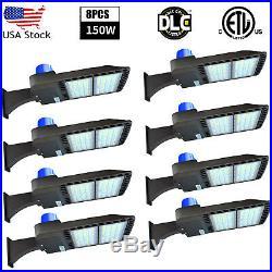 8 Pack 150W LED Parking Lot Light with Photocell Sensor (Shoe Box Pole Lights)