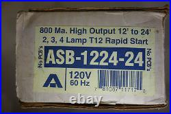 ADVANCE ASB 1224-24 magnetic sign Ballast 2,3 OR 4 Lamp, 12' TO 24' 120VOLT