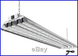 Commercial 4-Light Grey Fluorescent Heavy-Duty Shop Warehouse Lighting Fixture