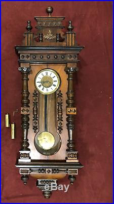 Gustav Becker Vienna Regulator Wall Clock Circa 1850 Great Condition 5 ft