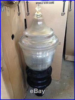 Holophane Granville Post Light, Finial, Globe Fixture and Bulb, King Luminaire