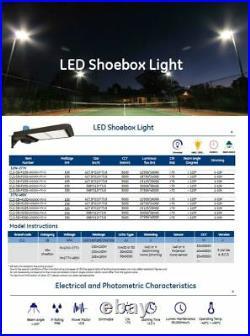LED 100/150/185/250 Watt Shoebox Parking Lot Pole Light Meanwell Driver 120-277V