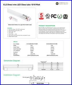 LED Direct Wire Tube Light 18W AC120-277V 3000K (25 Tubes) 4 Foot Tubes