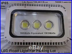 LED Flood, Parking Lot Light 180W Equivalent 1000W IP65 1800LM Energy Efficient