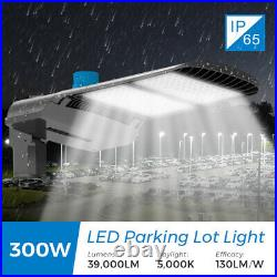 LED Parking Lot Light 100/150/200/300W Shoebox Street Pole light Photocell IP65