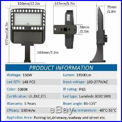 LED Parking Lot Lighting 150W Photocell 5000K LED Shoebox Pole Light 19500lm