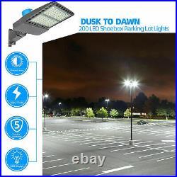 LED Parking Lot Pole Light Shoebox Fixture 28000LM Outdoor Road Area Light 200W