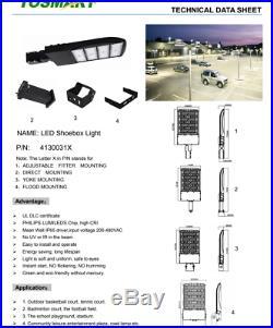 LED Shoebox Slim Black Pole Light 300W AC200-480V 5000K Meanwell Driver Phillips