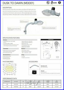 LED Street Barn Light 70 Watt Silver Photocell, Security Dusk to Dawn 120-277V