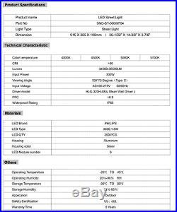 LED Street Pole Light Pewter 300W AC100-277V 5000K