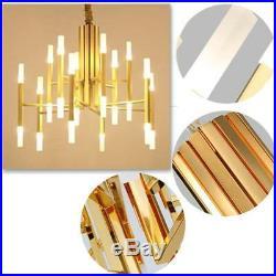 Modern Gold 24 LED Ceiling Light Metal Glass Branch Chandelier Pendant Lamp