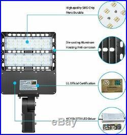 Outdoor LED Shoebox Fixture 150W Parking Lot Pole Light Slip Fit Mount 5700K DLC