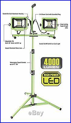 PowerSmith PWL2140TS Dual-Head 40W 4000 lm LED Work Light with Tripod, New, Free