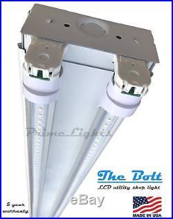 (QTY 6) NEW 4' ft 2 Lamp LED Strip Light Fixture Shop, Garage, 44 Watt 5000K