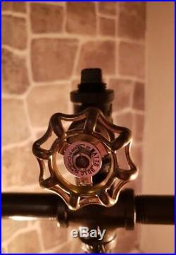 Rustic Industrial Pipe Lamp, train whistle, antique water meter, edison bulbs