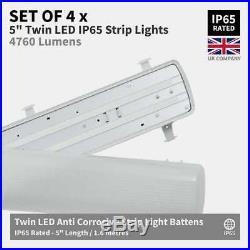 SET OF 4 x 5ft Twin IP65 Non Corrosive Waterproof LED Batten Ceiling Strip Light